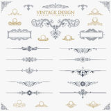 Baroque Set of vintage decor elements calligraphic Royalty Free Stock Images