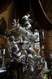 Baroque silver tomb of St John of Nepomuk Stock Photography