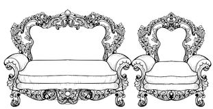 Baroque sofa and armchair with luxurious ornaments. Vector French Luxury rich intricate structure. Victorian Royal Style Stock Photos