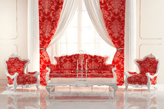 Baroque Sofa and Armchairs in old royal interior Stock Images