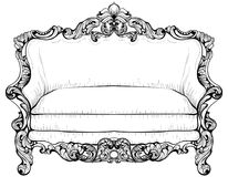 Baroque sofa with luxurious ornaments. Vector French Luxury rich intricate structure. Victorian Royal Style decor Royalty Free Stock Photo