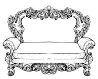 Baroque sofa with luxurious ornaments. Vector French Luxury rich intricate structure. Victorian Royal Style decor Stock Photo