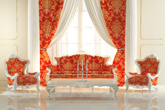 Baroque Sofa and Royal Armchairs Stock Photography