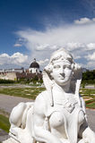 Baroque sphinx statue bust at Belvedere Palace Castle Vienna Aus. Tria Europe gardens in background Stock Images