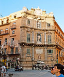 The Baroque Square in Palermo. PALERMO, ITALY - OCTOBER 2, 2012: The Baroque architecture of Vigliena Square, also famous as the Four Coners (Quatro Canti) royalty free stock photo