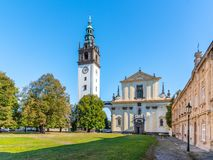 Baroque St. Stephen`s Cathedral with bell tower at the Cathedral Square in Litomerice, Czech Republic.  stock photography