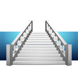 Baroque staircase with balustrade on blue strip Stock Photo