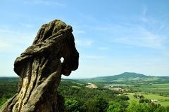 Baroque Statue and Landscape. Place of Pilgrimage called `Kalvárie` u Úštěka is baroque chapels with stations of the cross and baroque statues in royalty free stock photos