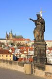 Baroque Statue on Prague Charles Bridge Royalty Free Stock Image