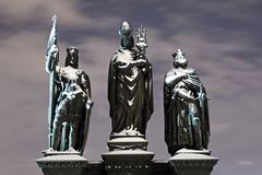 Baroque Statues on Charles Bridge in Winter Night, Prague, Czech R. Stock Photography
