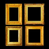 Baroque style ancient gold frame set. Isolated on black background Royalty Free Stock Photo