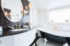 Baroque style bathroom. Image of new fashionable baroque style bathroom stock image