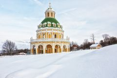 Baroque style church of the Nativity of the Virgin in Podmoklovo XVIII century. In winter day, Moscow region, Russia Stock Image