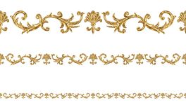 Baroque style golden ornamental segments seamless pattern. Hand drawn gold border frame. With scrolls, leaves and elements on white background. Vintage design stock illustration