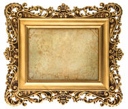 Baroque style golden picture frame with canvas. Baroque style golden picture frame isolated on white background with canvas for your picture, photo, image Stock Photo