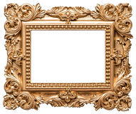 Baroque style golden picture frame. Vintage art object. Isolated on white background Royalty Free Stock Photography