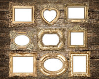 Baroque style golden picture frames. Antique objects Royalty Free Stock Photography