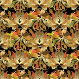 Baroque style leafy 3d seamless pattern. Vector autumn backgroun. D. Patterned ornamental floral design for wallpapers, fabric. Luxury vintage golden ornaments Royalty Free Stock Images