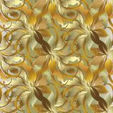Baroque style leafy gold 3d seamless pattern. Vector autumn back. Ground. Patterned ornamental floral design for wallpaper, fabric. Rich vintage golden ornaments Stock Images