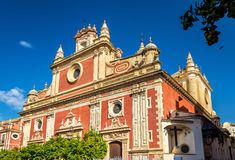 Baroque style Salvador Church in Seville, Spain Stock Photos