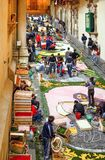 The baroque style and the traditions in Sicily. Noto, Italy - May 15, 2004: Sicily island, nighy works for the Flowers Festival Infiorata Royalty Free Stock Image