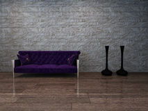 Baroque style violet can pee against stone wall Royalty Free Stock Images