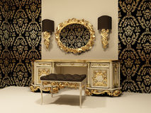 Baroque table with mirror on the wallpaper backgro. Und with ornament. make-up / dressing room Vector Illustration