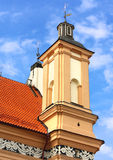 Baroque tower of the old time catholic church Stock Photos