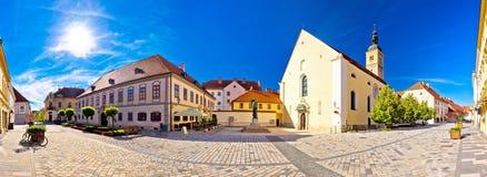 Baroque town of Varazdin square panoramic view Stock Image