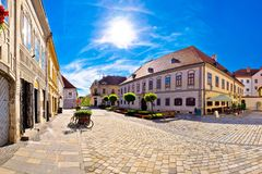 Baroque town of Varazdin square panoramic view Royalty Free Stock Images