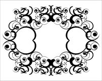 Baroque union in black. Twins heart-like geometries are placed on a white background, it can be used as a vector, inspiration for tatoos or as a design for wall Stock Images