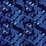 Baroque scroll leaves ornaments. Baroque vector 3d seamless pattern. Floral vintage black blue damask background. Vintage flowers, scrolls, leaves, antique Royalty Free Stock Photography