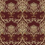 Baroque vector seamless pattern. Damask dark red floral backgrou Stock Images