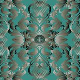 Baroque vector seamless pattern. Dark turquoise ornate floral ba. Ckground with silver 3d flowers, scroll leaves and antique vintage damask ornaments. Luxury Royalty Free Illustration