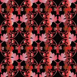 Red black baroque ornaments. Baroque vector seamless pattern. Floral vintage red black damask background. Vintage flowers, scrolls, leaves, antique ornaments in Royalty Free Stock Photo