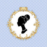 Baroque vignette. Stylize young womans head in baroque frame on blue background Stock Photos