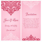 Baroque wedding invitation banners with a place fo Stock Photo