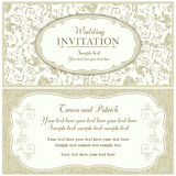 Baroque wedding invitation, beige Royalty Free Stock Images