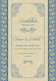 Baroque wedding invitation, beige and blue Royalty Free Stock Images