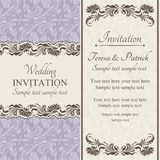 Baroque wedding invitation, beige and purple Stock Photography