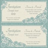 Baroque wedding invitation, blue and beige Stock Photo