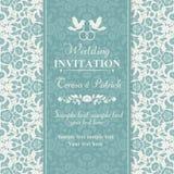 Baroque wedding invitation, blue and beige Stock Image