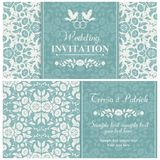 Baroque wedding invitation, blue and beige Stock Photos