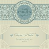 Baroque wedding invitation, blue and beige Royalty Free Stock Image