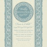 Baroque wedding invitation, blue and beige Royalty Free Stock Photo