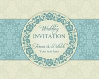 Baroque wedding invitation, blue and beige royalty free illustration