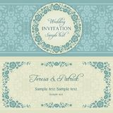 Baroque wedding invitation, blue and beige Royalty Free Stock Images