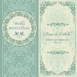 Baroque wedding invitation, blue and beige Stock Image