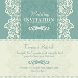 Baroque wedding invitation, blue and beige Royalty Free Stock Photography