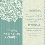 Baroque wedding invitation, blue and beige. Baroque wedding invitation card in old-fashioned style, blue and beige Stock Images